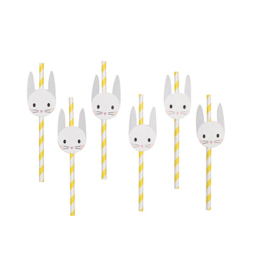 Mini Rabbit Paper Straws / Set of 12