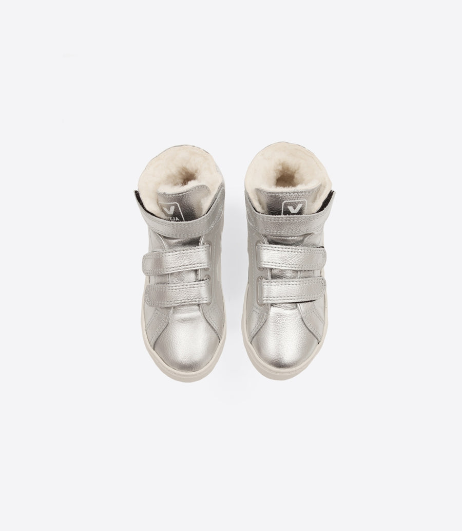 Esplar Mid Leather Furred Sneaker / Silver