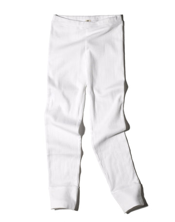 Girls Thermal Pant Ribbed / White