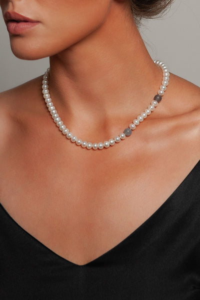 Moon River Pearl Necklace by Peregrina Pearls on a Model