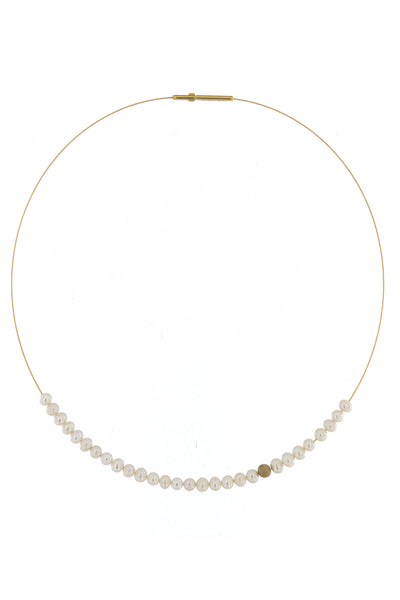 Abacus Pearl Necklace with Gold Bead by Peregrina Pearls