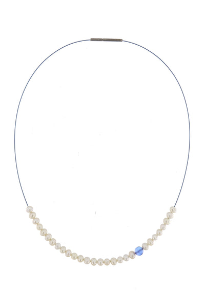 Abacus Pearl Necklace with a Tanzanite Bead by Peregrina Pearls - a lovely medium-length necklace with running pearls and a genuine tanzanite on a blue steel cord with a bayonet closure