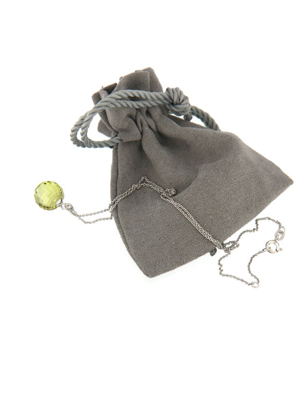 Lemon Quartz Disco Ball Bubble Pendant in its soft pouch