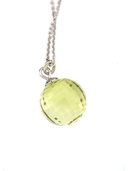 Lemon Quartz Disco Ball Bubble Pendant, 12 mm