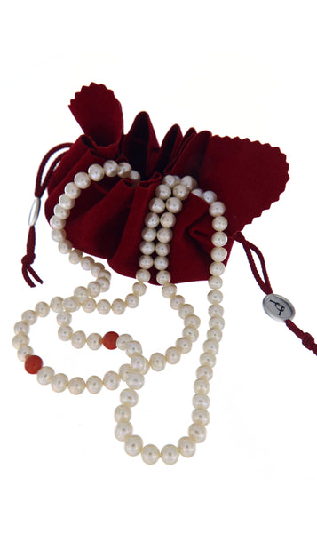 Dearest Coco Pearl Necklace by Peregrina Pearls in branded packaging featuring rich burgundy tabacco pouch