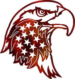 Eagle Head and Flag Metal Sign