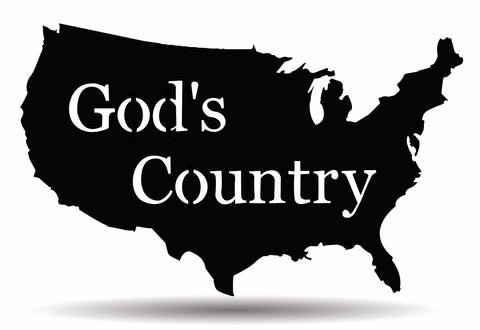 "USA ""God's Country"" Metal Sign"
