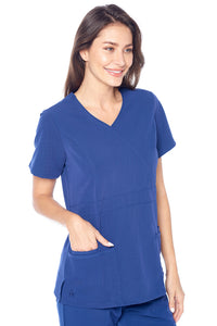Angel Uniforms- Adriana 4-Pocket, Slim-Fit Stretch Scrub Top Medical Anti-Wrinkle Navy Blue