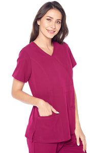 Angel Uniforms- Adrianna 4-Pocket, Slim-Fit Stretch Scrub Top Medical Anti-Wrinkle - Wine