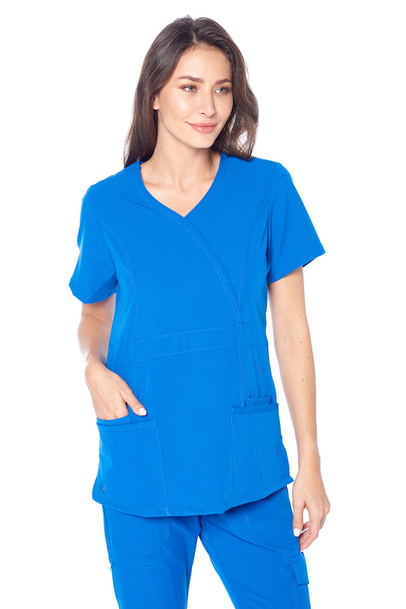 Angel Uniforms- Adrianna 4-Pocket, Slim-Fit Stretch Scrub Top Medical Anti-Wrinkle - Royal Blue