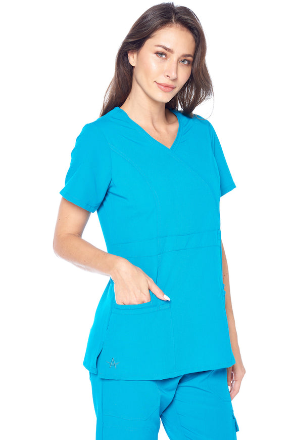 Angel Uniforms- Adrianna 4-Pocket, Slim-Fit Stretch Scrub Top Medical Anti-Wrinkle - Teal