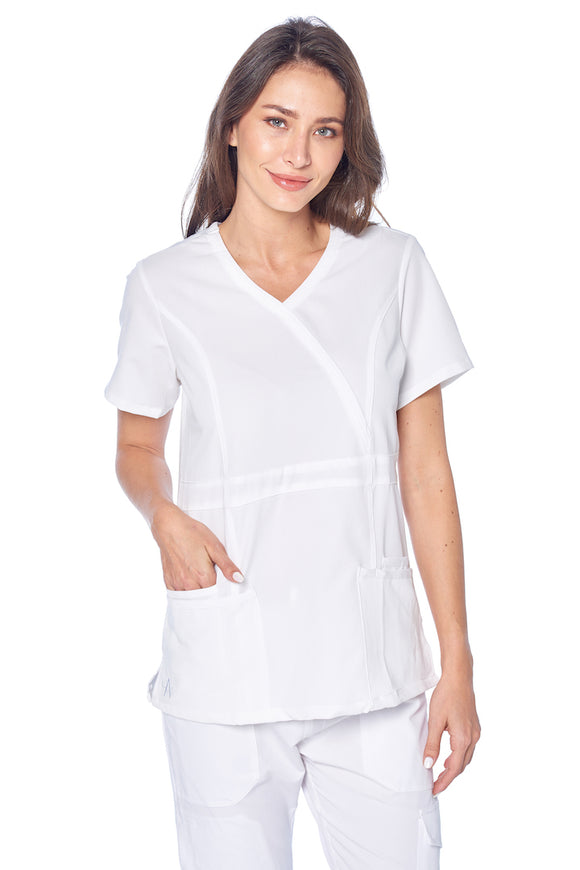 Angel Uniforms- Adriana 4-Pocket, Slim-Fit Stretch Scrub Top Medical Anti-Wrinkle -  White