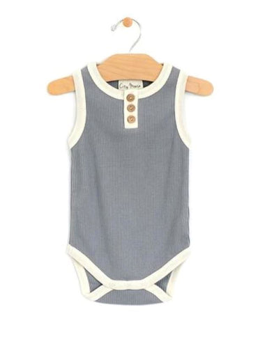 Blue Rib Bodysuit Onesie/Bodysuit City Mouse 0-3m