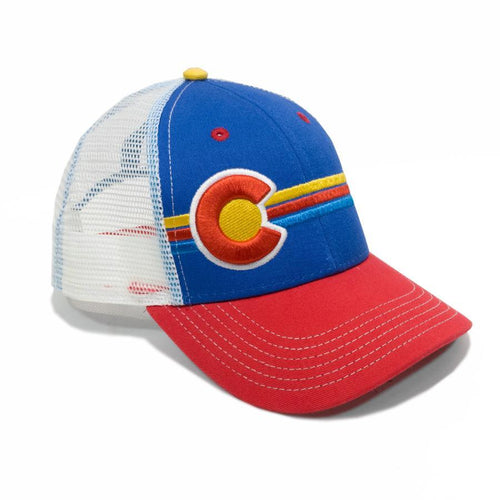 Candystripe Trucker Hat Hats Yo Colorado Red/Blue