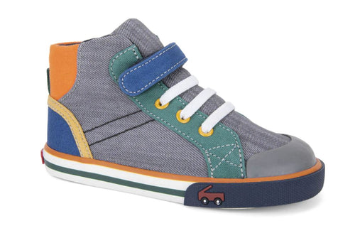 Dane Sneakers: Grey & Blue - Pitter Patter