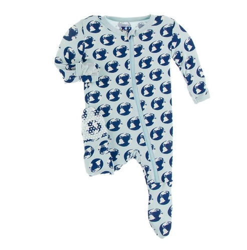 Earth Print Zip Footie - Pitter Patter
