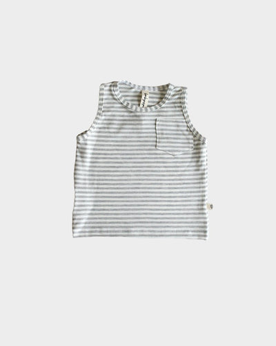 Grey Stripe Pocket Tank Tops Baby Sprouts 6-12m