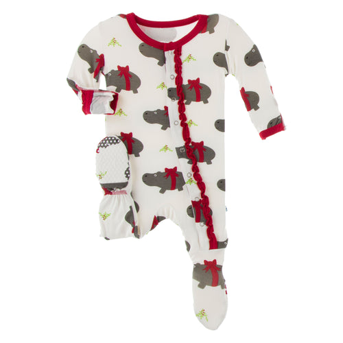 Holiday Hippo Ruffle Zip Footie - Pitter Patter