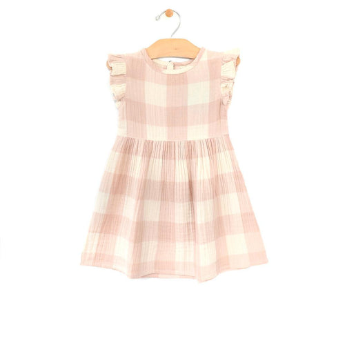 Peach Check Dress Dresses City Mouse 2T