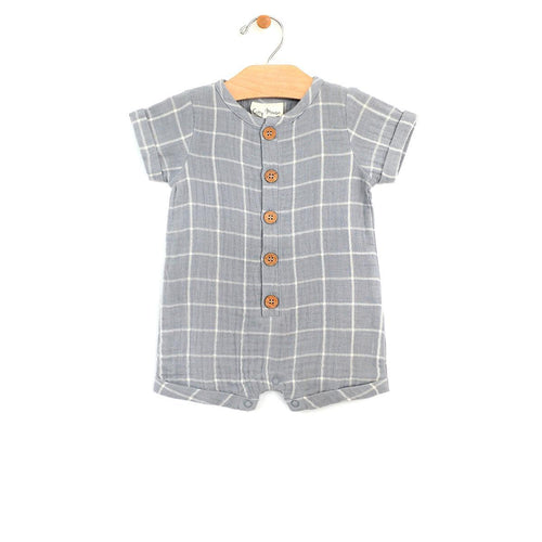 Windowpane Short Romper Romper City Mouse 0-3m