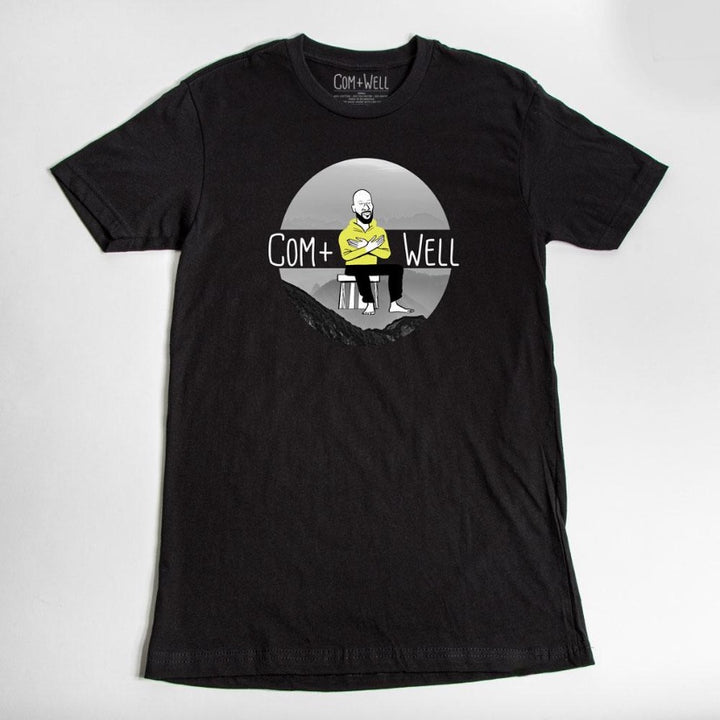 COM+WELL Mountains Black T-Shirt