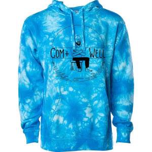 COM+WELL Simple Logo Blue Tie Dye Pullover Hoodie