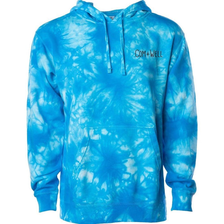 COM+WELL Script Pocket Blue Tie Dye Pullover Hoodie
