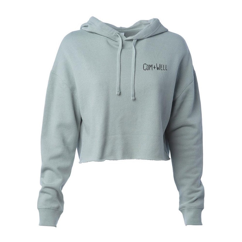 COM+WELL Script Pocket Logo Pullover Crop Hoodie