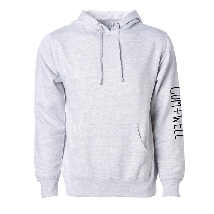 COM+WELL Sleeve Logo Heather Grey Pullover Hoodie