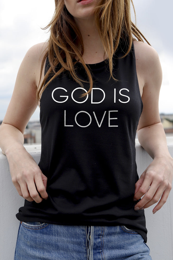 God is Love Women's Black Muscle Tank