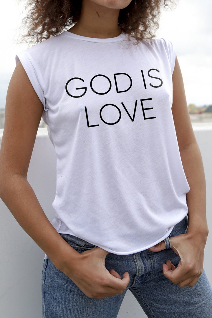 God is Love Women's White Moto Tee