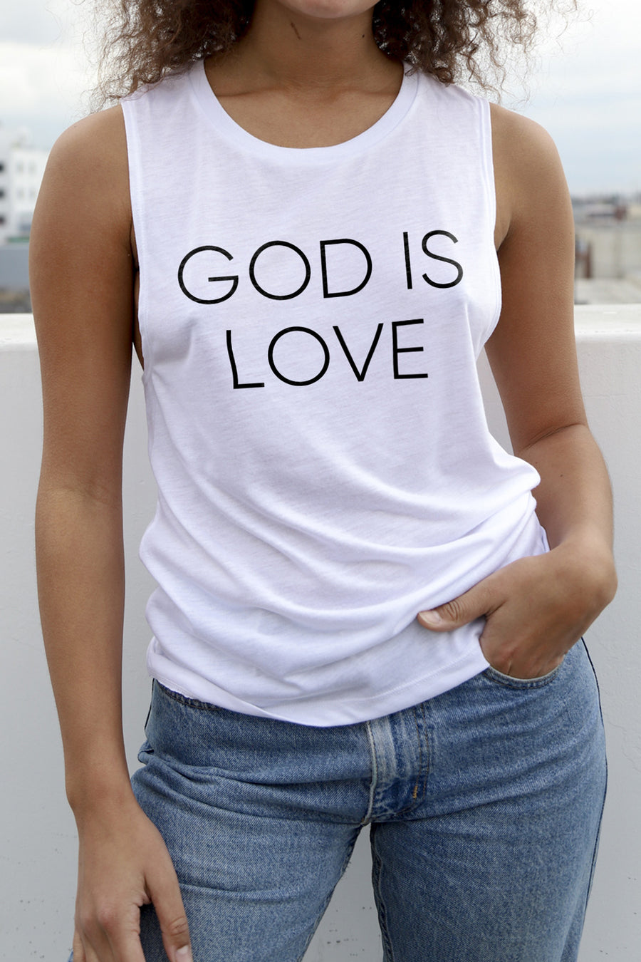 God is Love Women's White Muscle Tank