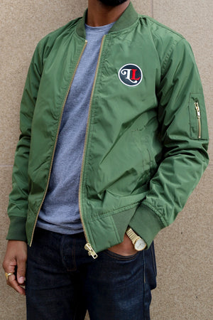 Let Love Army Green Bomber Jacket