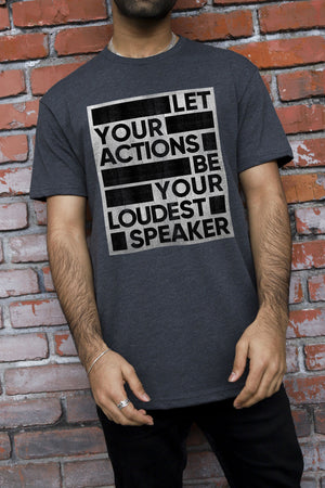 Loudest Speaker Poster Charcoal T-Shirt