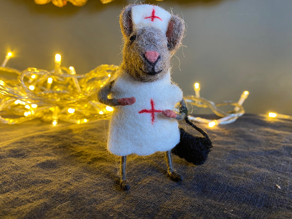 Hand Felted Nurse Mouse