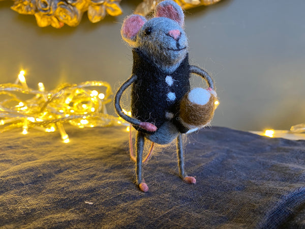 "Hand Felted Mouse with Pint, ""Jacka"""