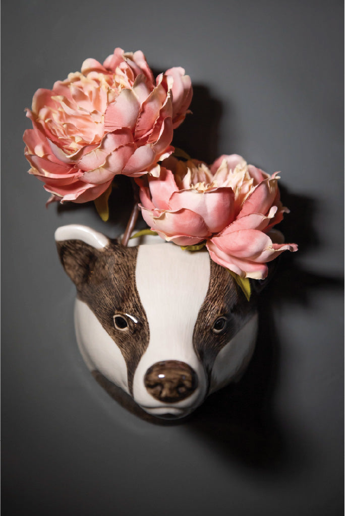 Ceramic Badger Wall Vase