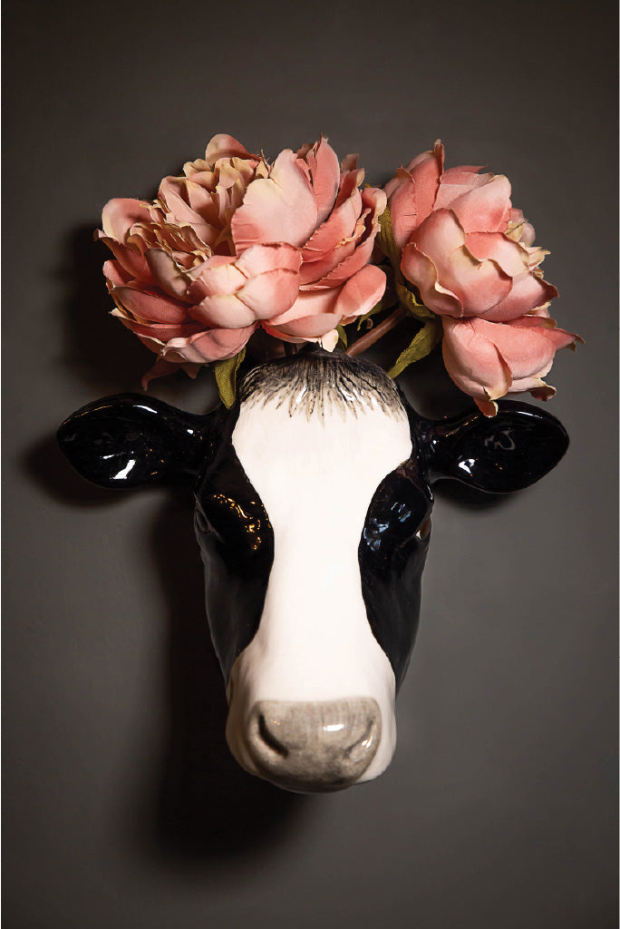 Ceramic Cow Wall Vase