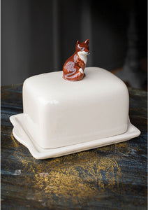 Ceramic Fox Butter Dish