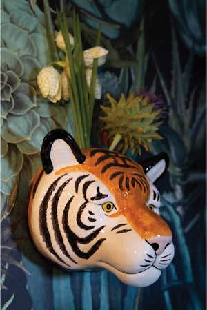 Ceramic Tiger Wall Vase