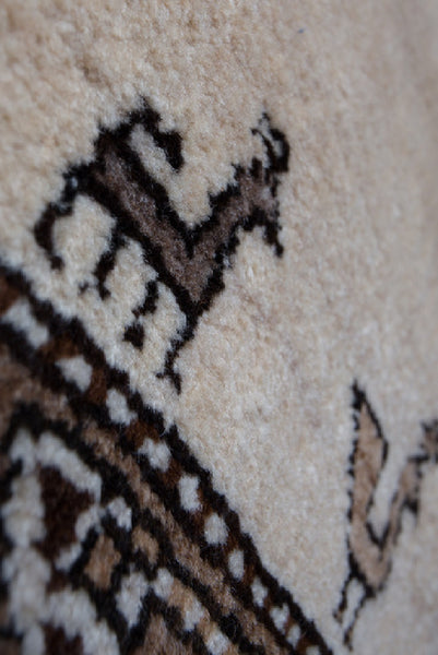 Vintage Persian Qashqai Rug - Brown and Cream