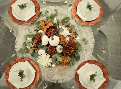 Autumn Harvest Fall Round Tablescape Set - Series 100.R