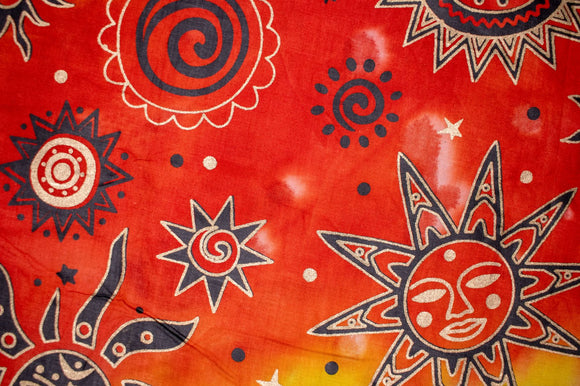 Face Covering Orange Tie Die with Sun Print