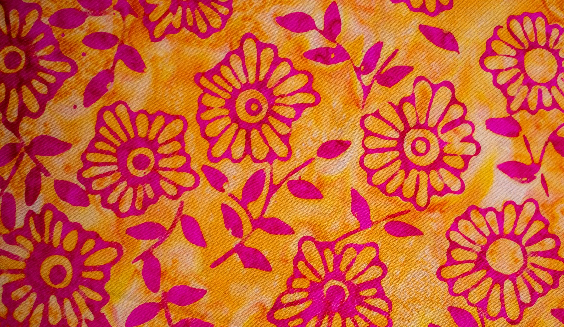 Face Covering Orange with Pink Flowers
