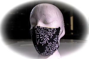 Face Covering Black with White Floral