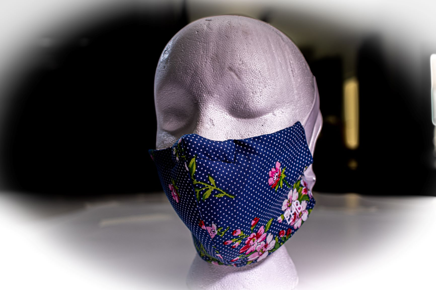 Face Covering Blue Polka Dot with Floral