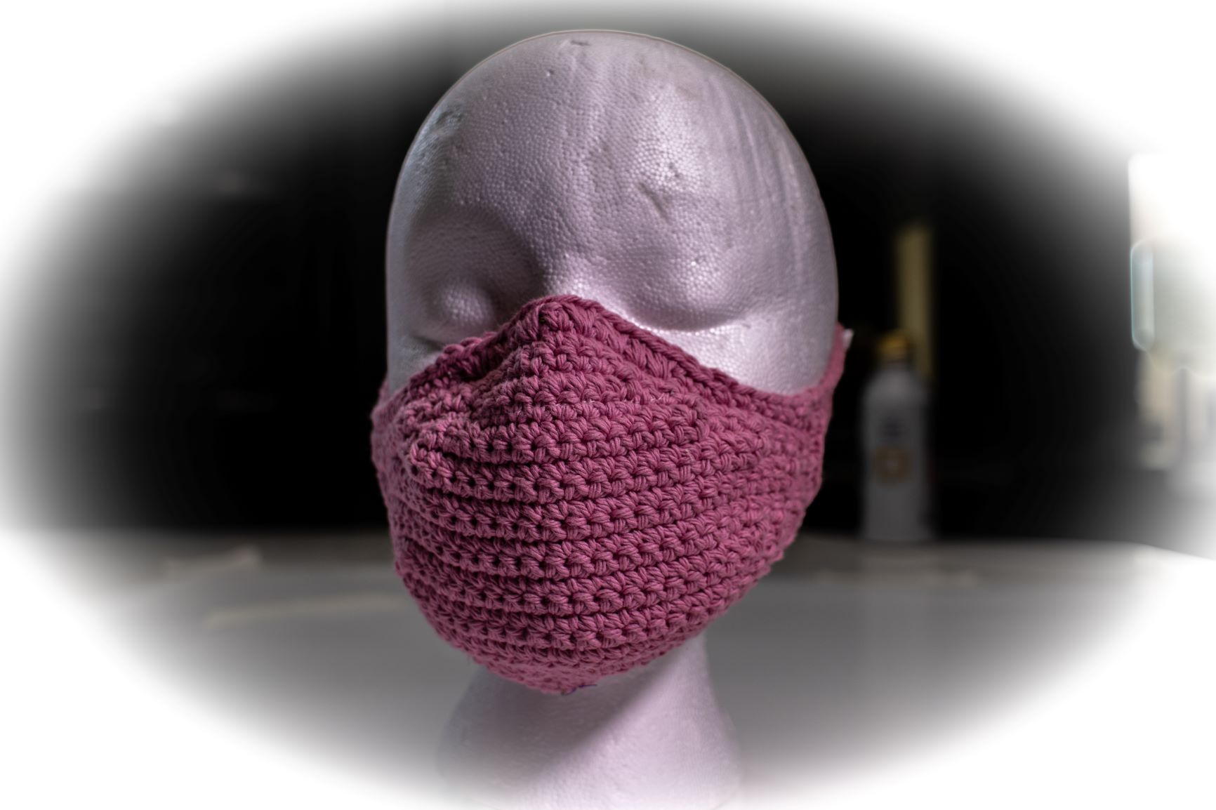 Face Covering Crochet Rose Pink