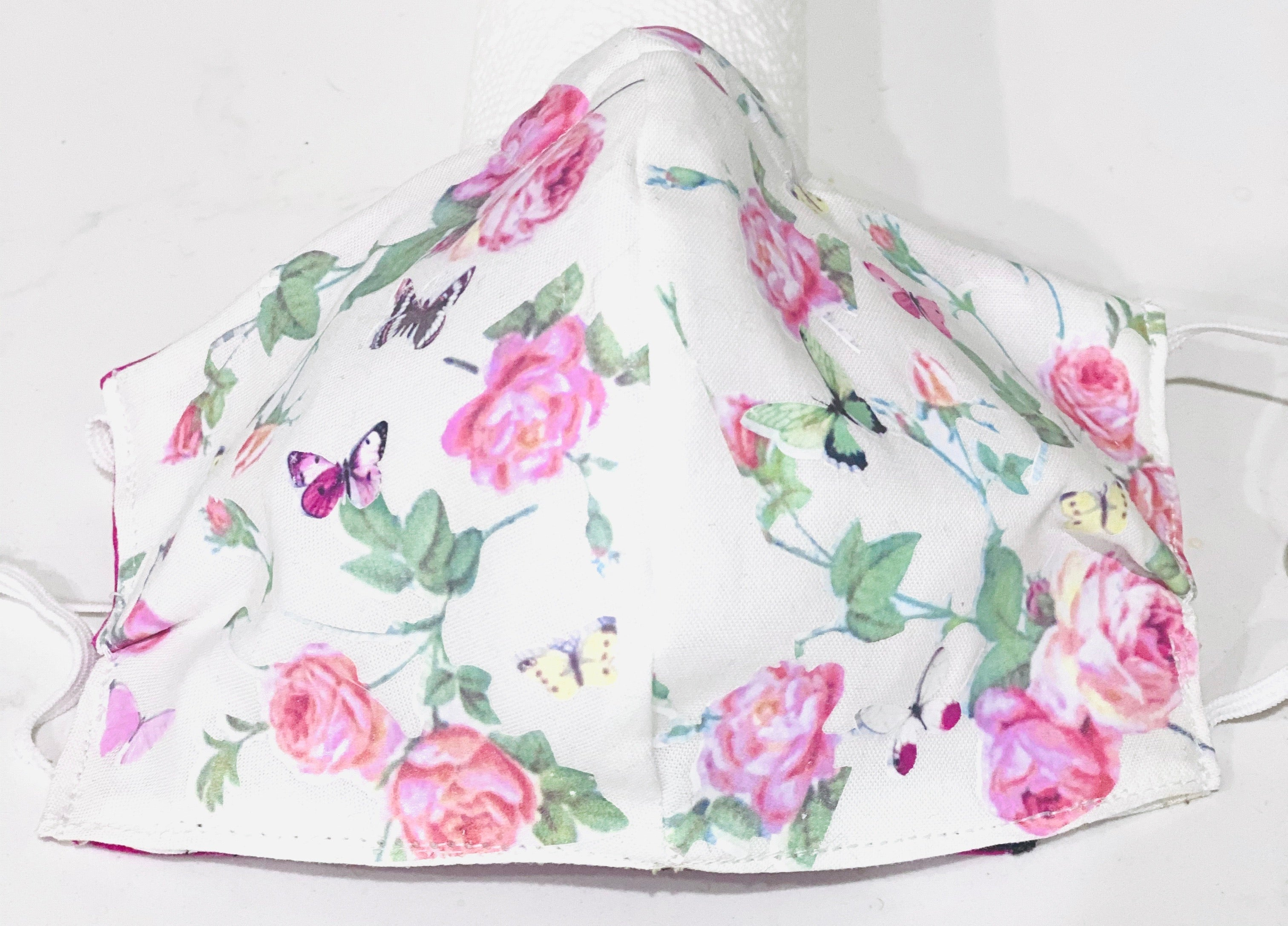 Face Coverings White with Pink Roses and Butterflies custom designed