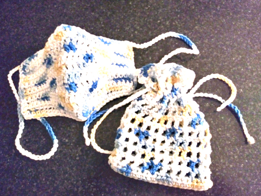 Face Covering Crochet White with yellow and blue confetti