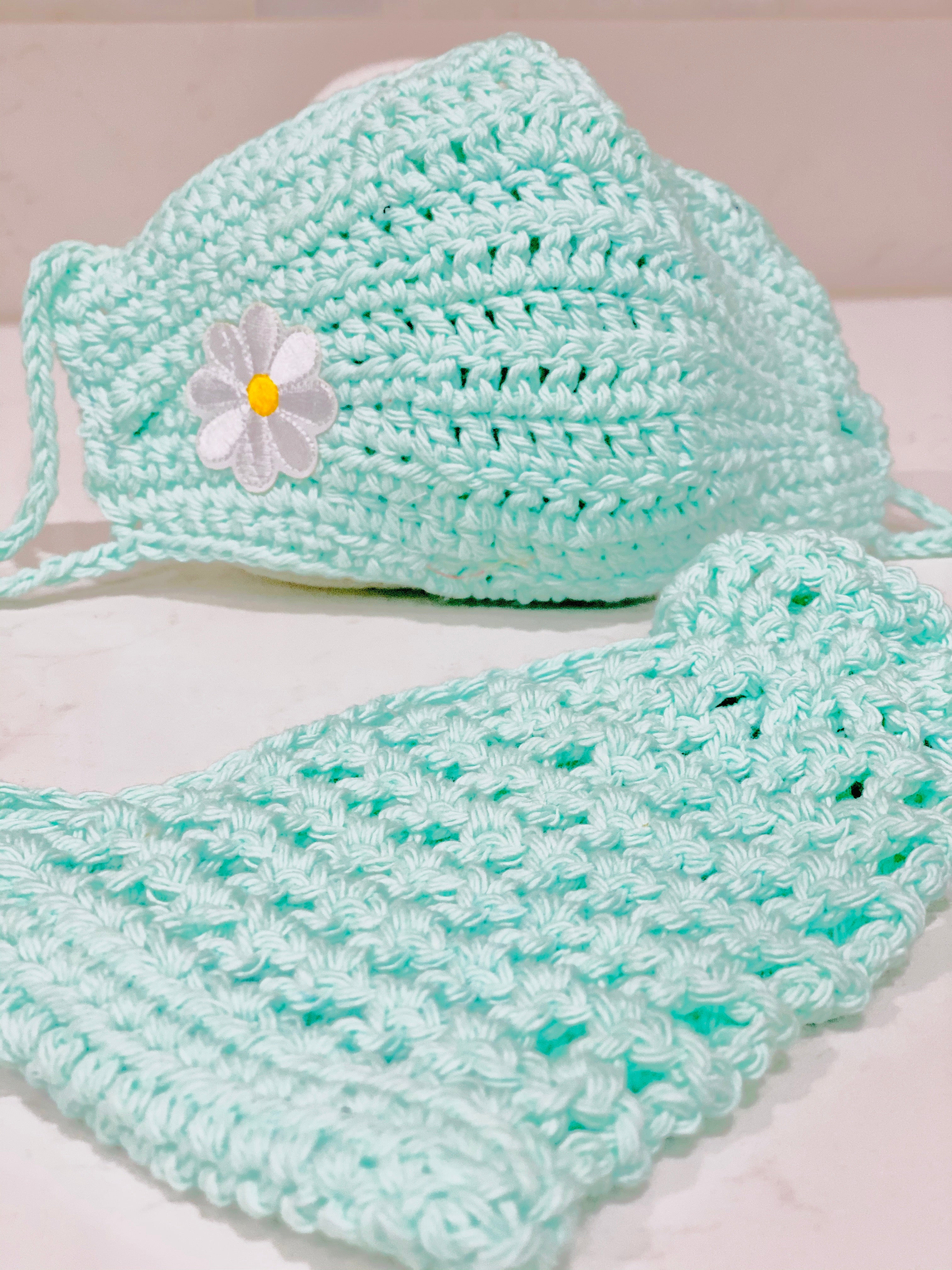 Face Covering Crochet Light teal